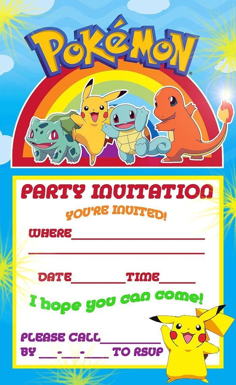Pokemon Theme For A Kid's Birthday Party   William's Pokeman B-Party - Pokemon Invitations Printable Free