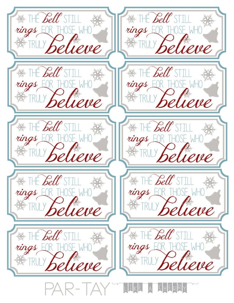 Polar Express Bell Tags | Party Like A Cherry | Polar Express - Polar Express Free Printables