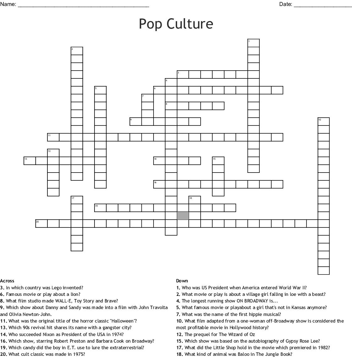 Pop Culture Crossword - Wordmint - Pop Culture Crossword Printable Free