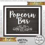 Popcorn Bar Sign, Popcorn Sign, Treat, Graduation Party Birthday   Popcorn Bar Sign Printable Free