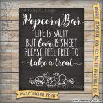 Popcorn Bar Sign, Wedding Reception Poster, Life Is Salty Love Is   Popcorn Bar Free Printables