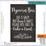 Popcorn Bar Sign Wedding Sign Life Is Salty Love Is Sweet | Etsy   Popcorn Bar Free Printables