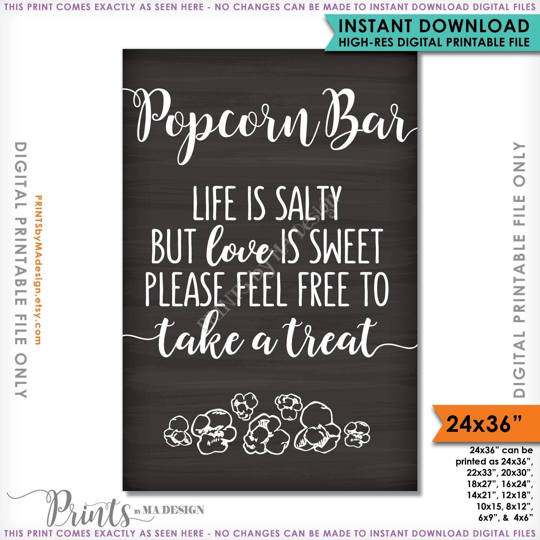 Popcorn Bar Sign Wedding Sign Life Is Salty Love Is Sweet | Etsy - Popcorn Bar Free Printables
