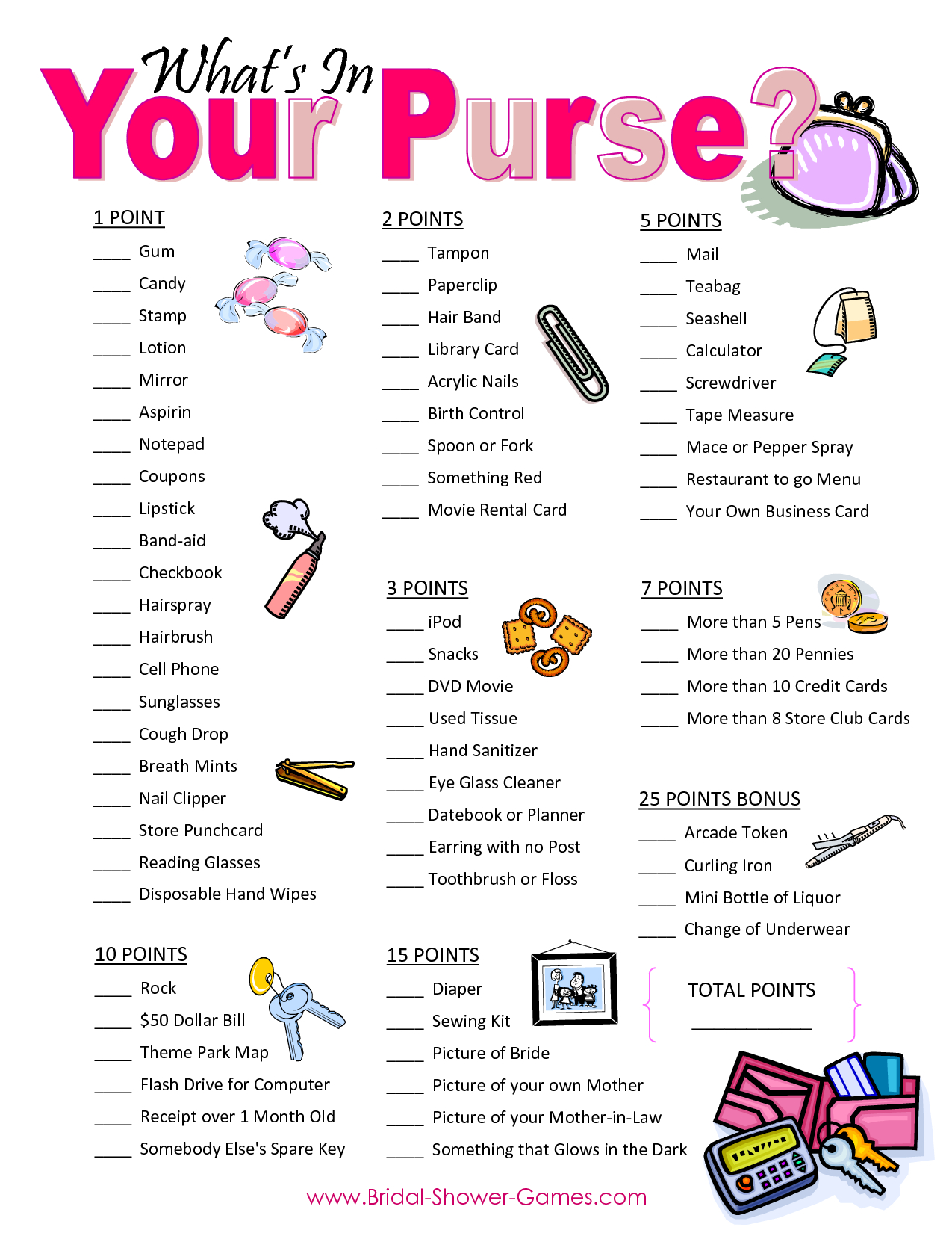 Popular Wedding Shower Games For Free | Business Ideas | Wedding - Free Printable Baby Shower Game What's In Your Purse