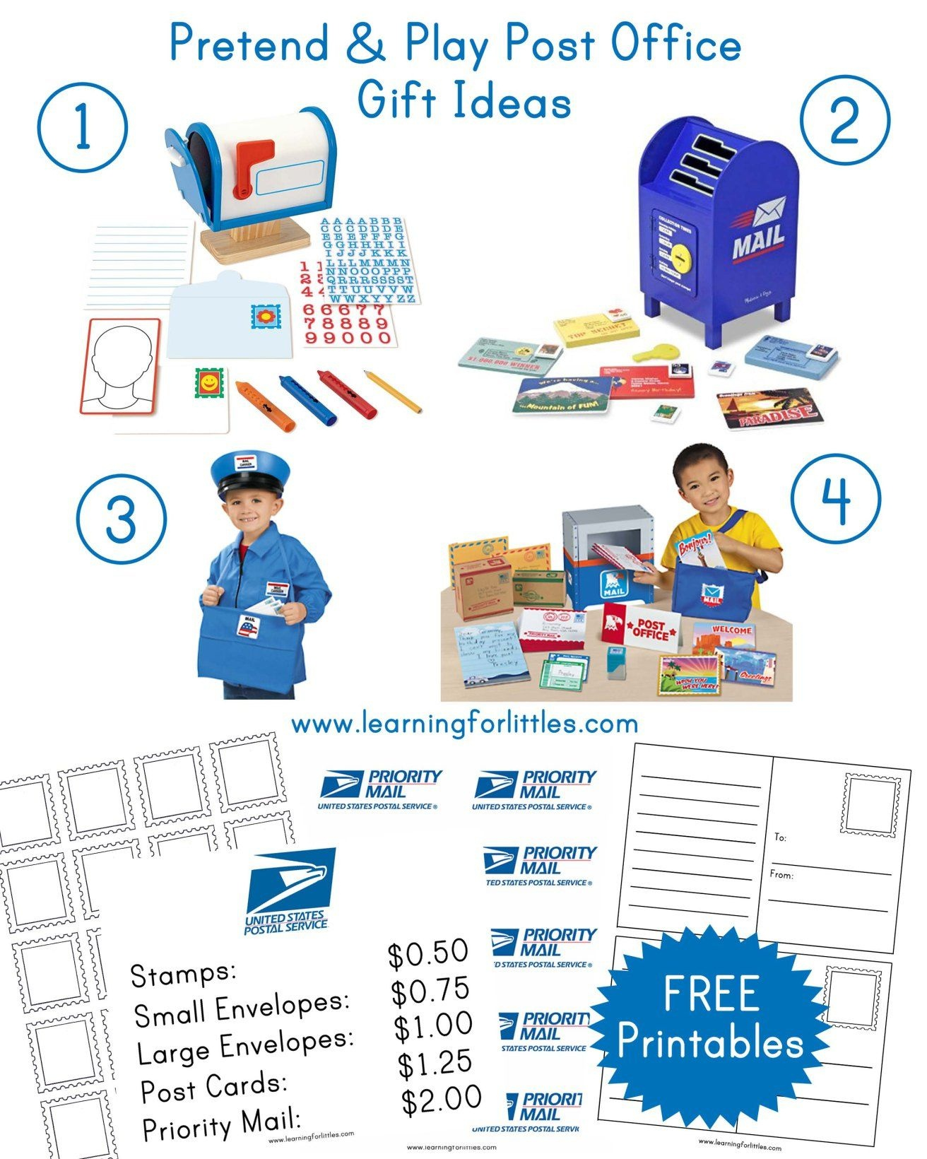 Post Office Gifts & Printables | Prek Dramatic Play | Pretend Play - Post Office Dramatic Play Free Printables