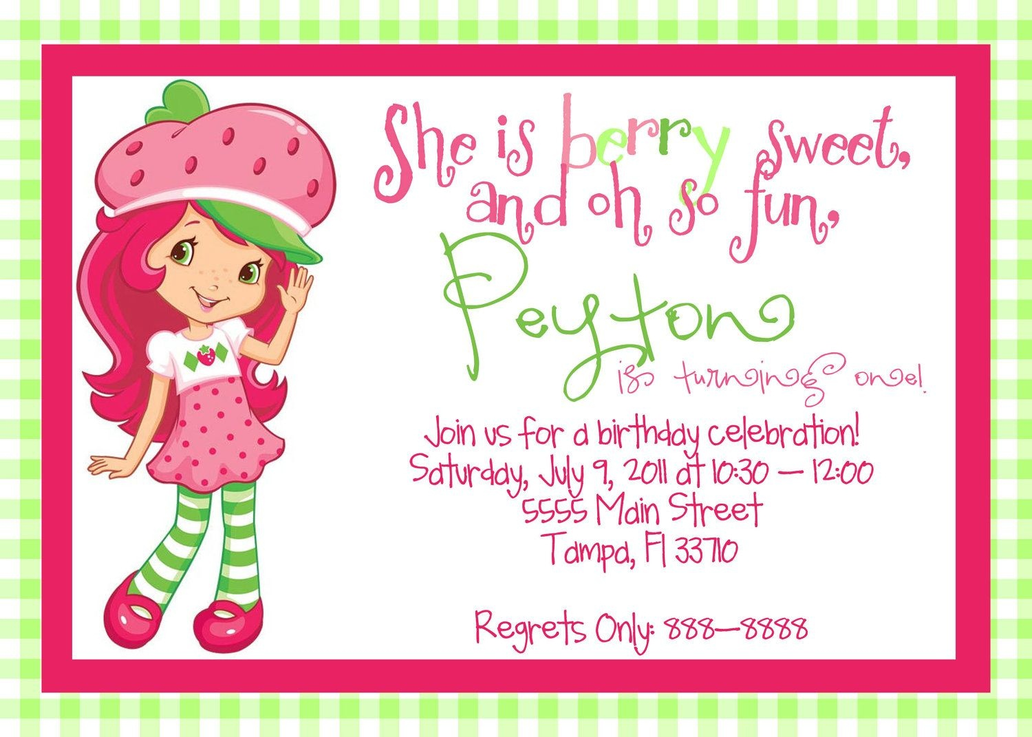 Posts Related To Strawberry Shortcake Birthday Invitation Templates - Strawberry Shortcake Birthday Cards Free Printable