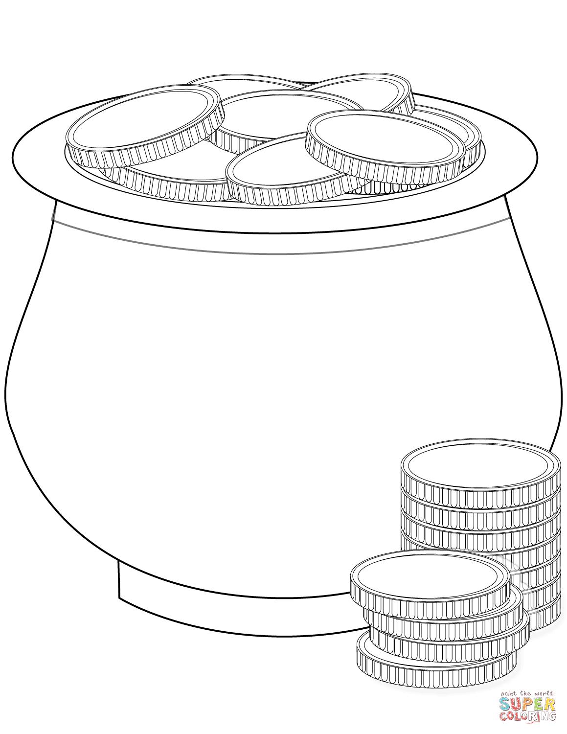 Pot Of Gold Coins Coloring Page | Free Printable Coloring Pages - Free Printable Pot Of Gold Coloring Pages