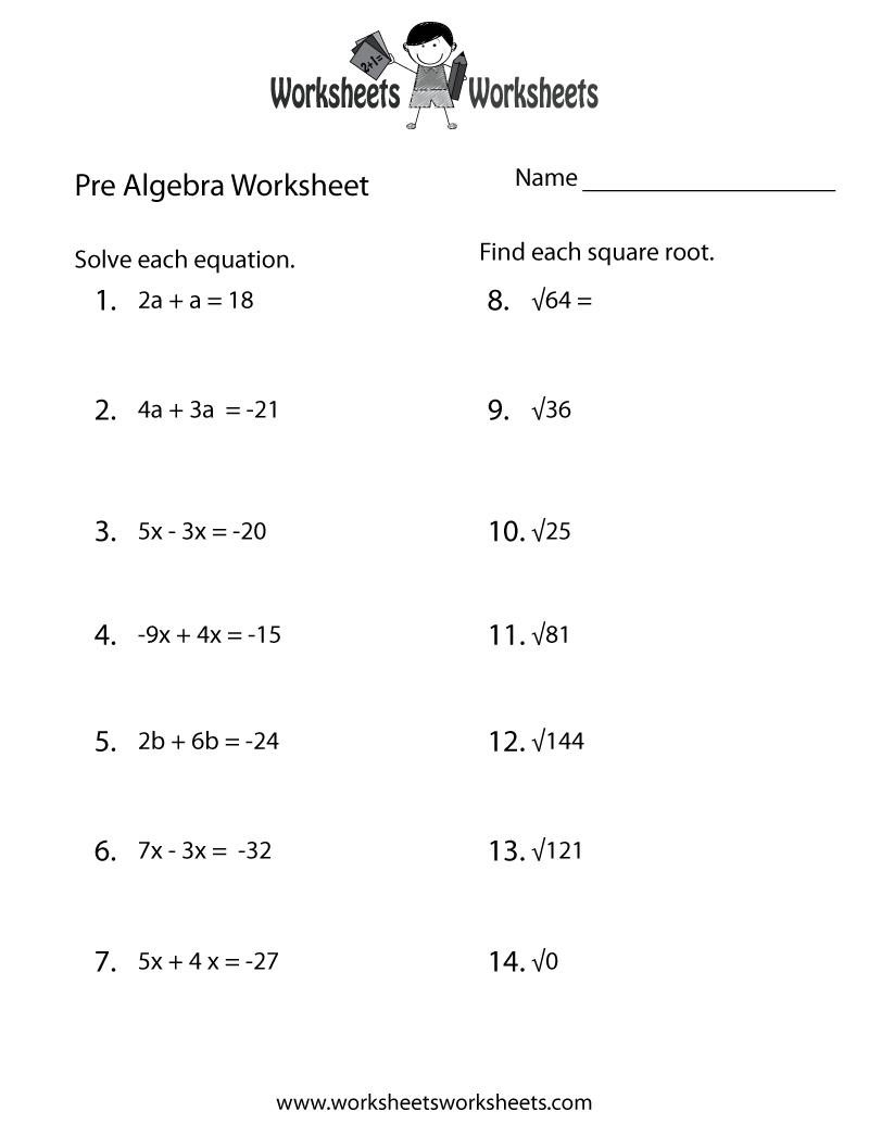 Pre-Algebra Practice Worksheet Printable | Lessons | Algebra - 9Th Grade Algebra Worksheets Free Printable