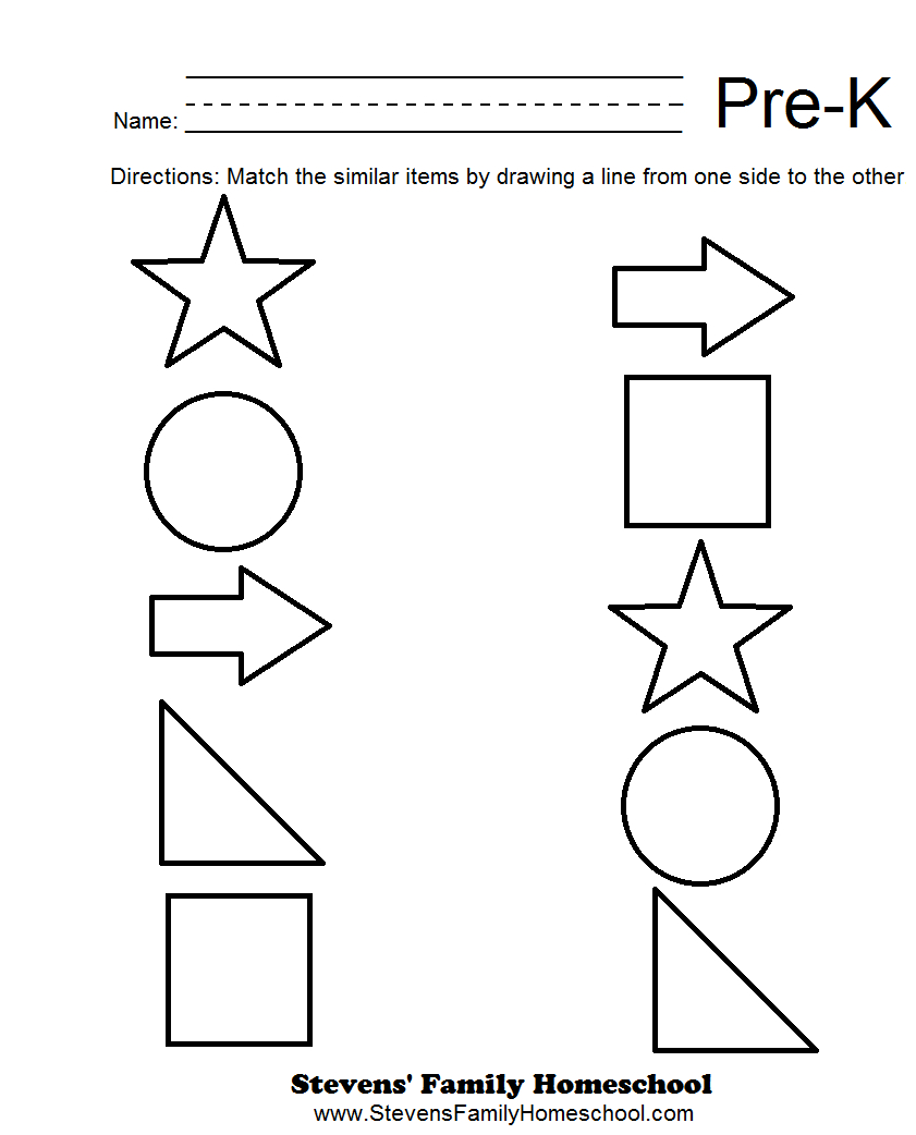 Pre-K Matching Worksheets | Kids | Pre K Worksheets, Pre K Math - Free Pre K Math Printables