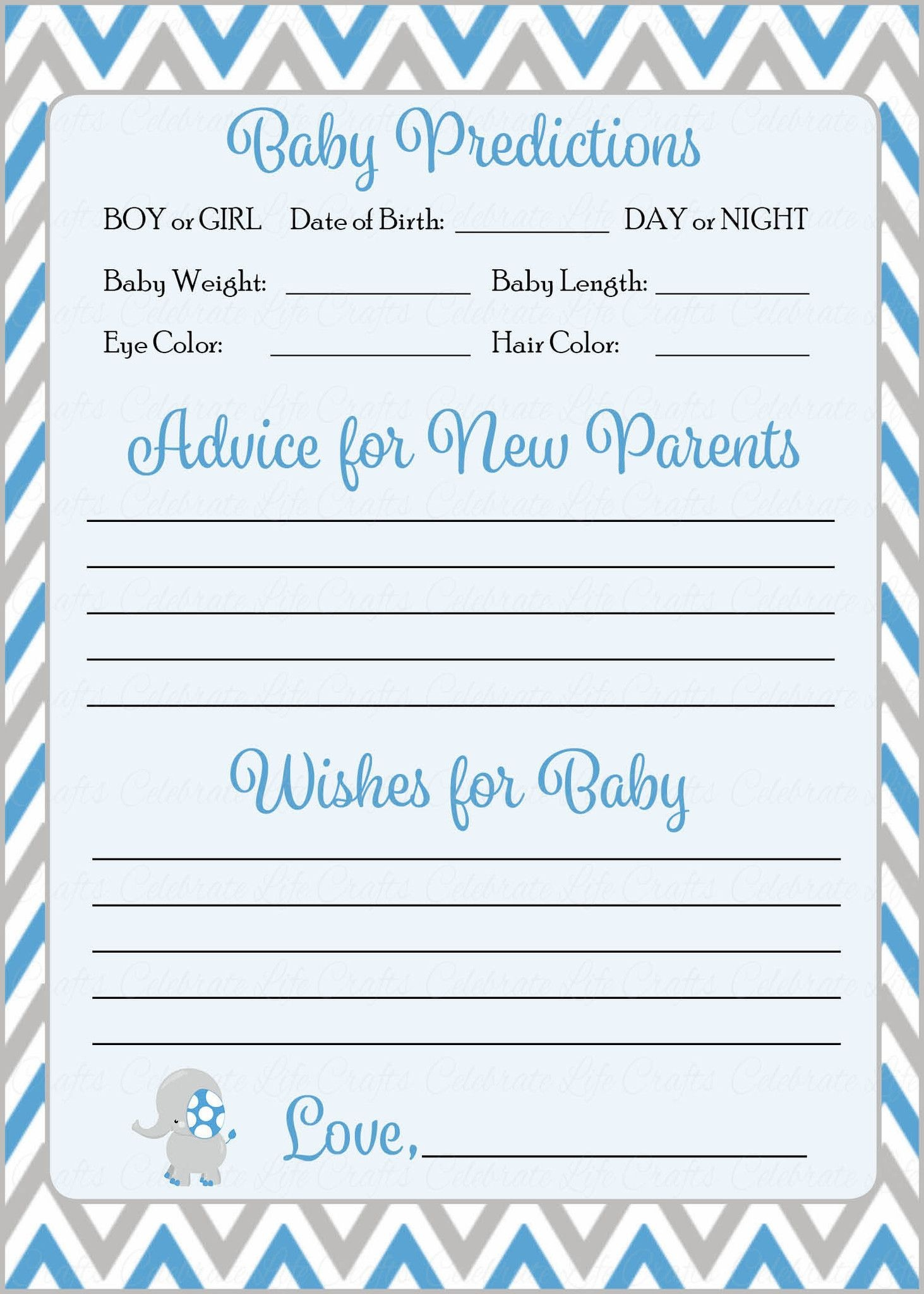 Prediction & Advice Cards - Printable Download - Blue & Gray Baby - Baby Prediction And Advice Cards Free Printable