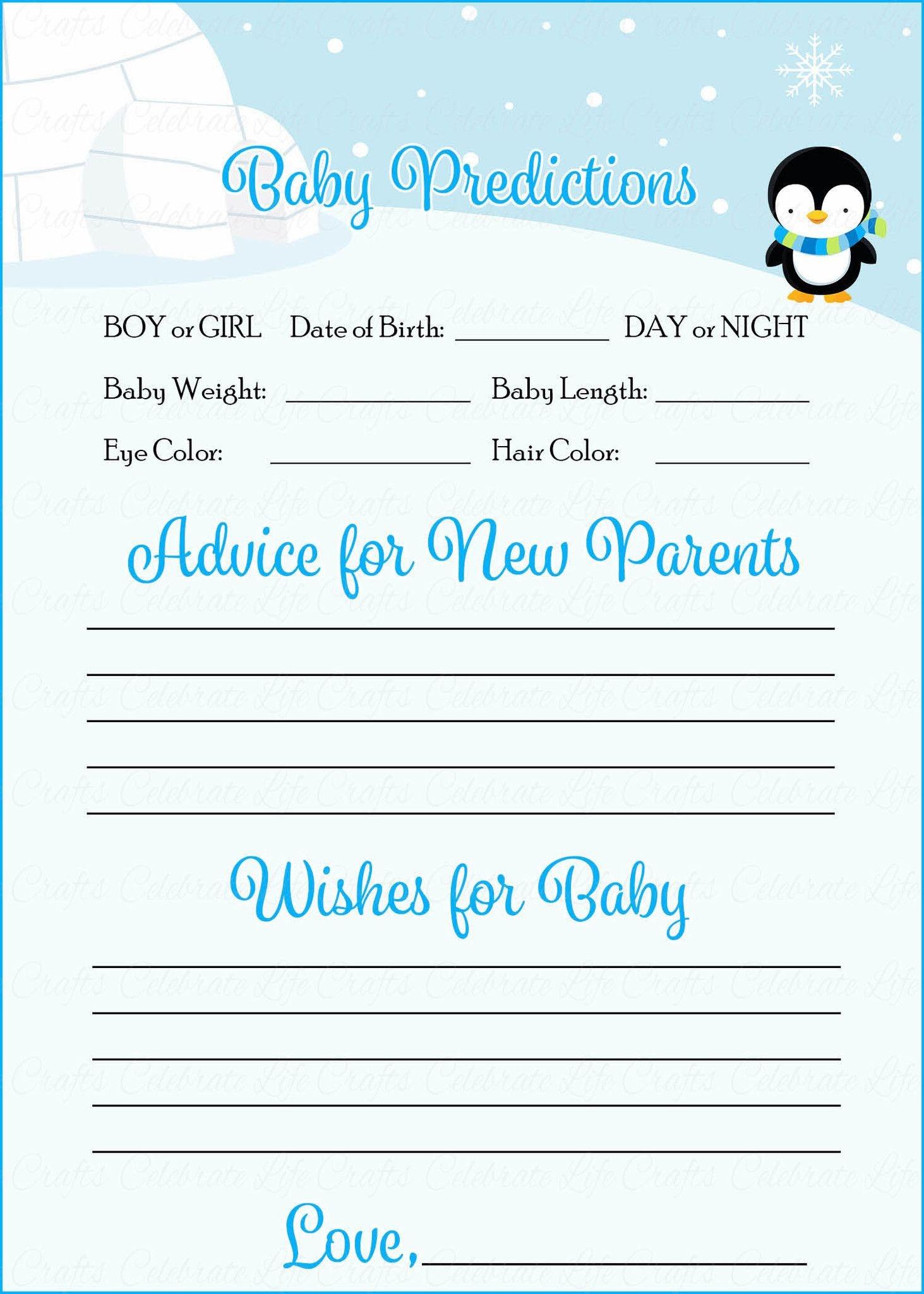 Prediction & Advice Cards - Printable Download - Blue Penguin Winter - Baby Prediction And Advice Cards Free Printable