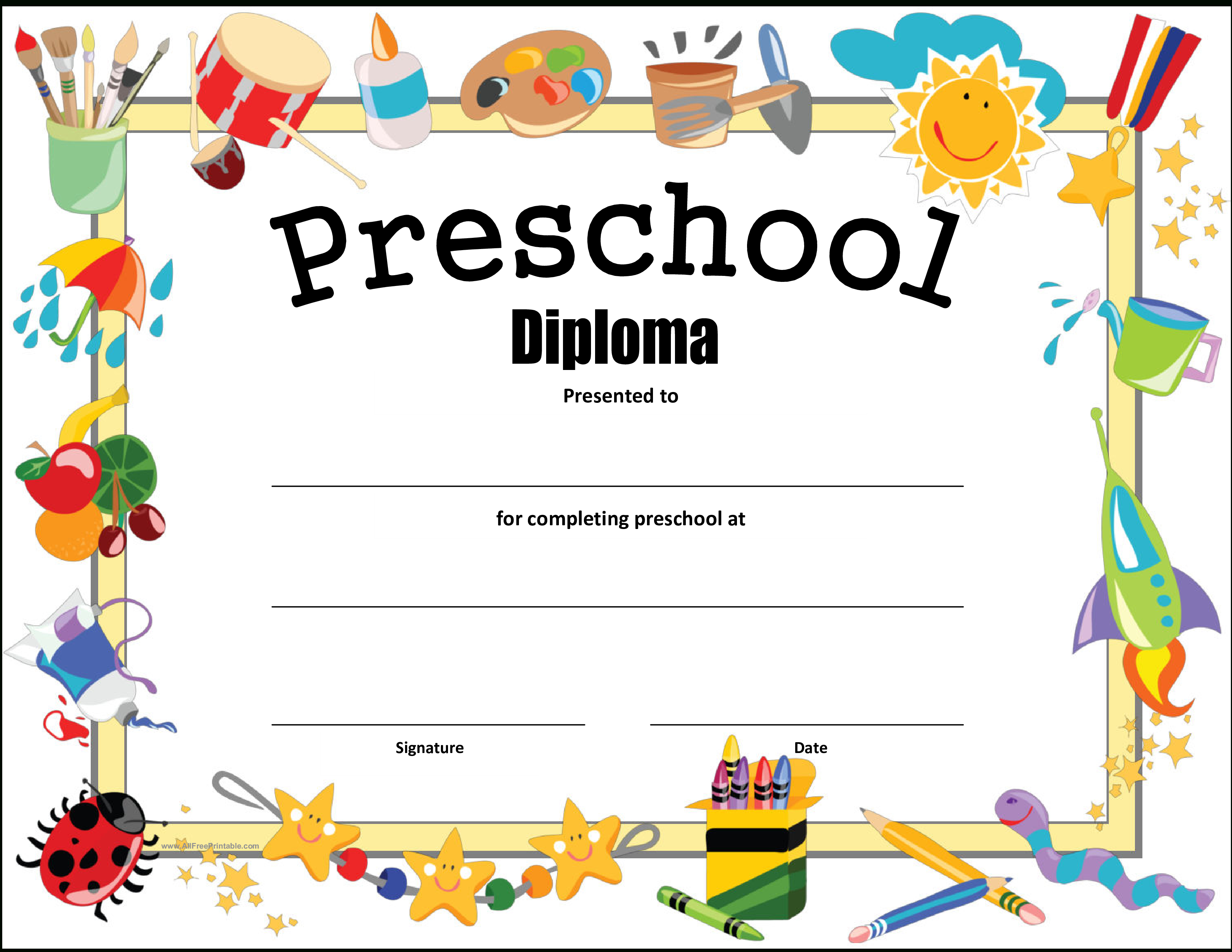 Preschool Diploma Certificate - How To Make A Preschool Diploma - Free Printable Preschool Diplomas