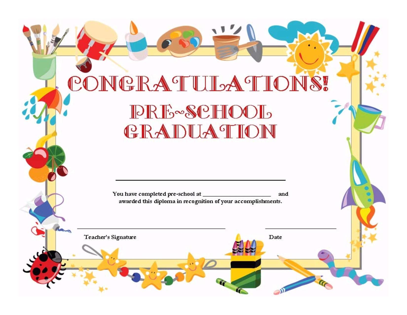 Preschool Graduation Certificate Template Free   School   Graduation - Free Printable First Day Of School Certificate