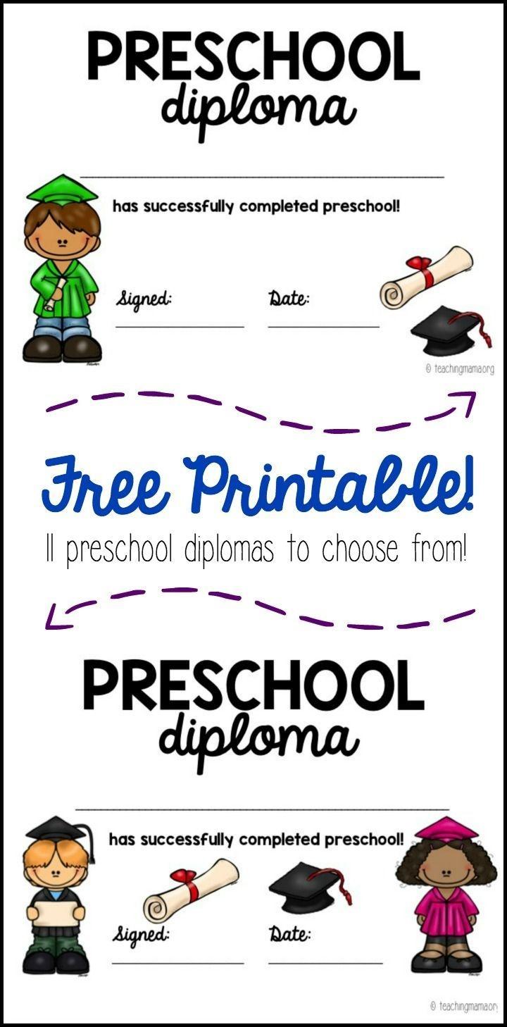 Preschool Graduation Diploma | All Things Preschool | Preschool - Free Printable Preschool Diplomas