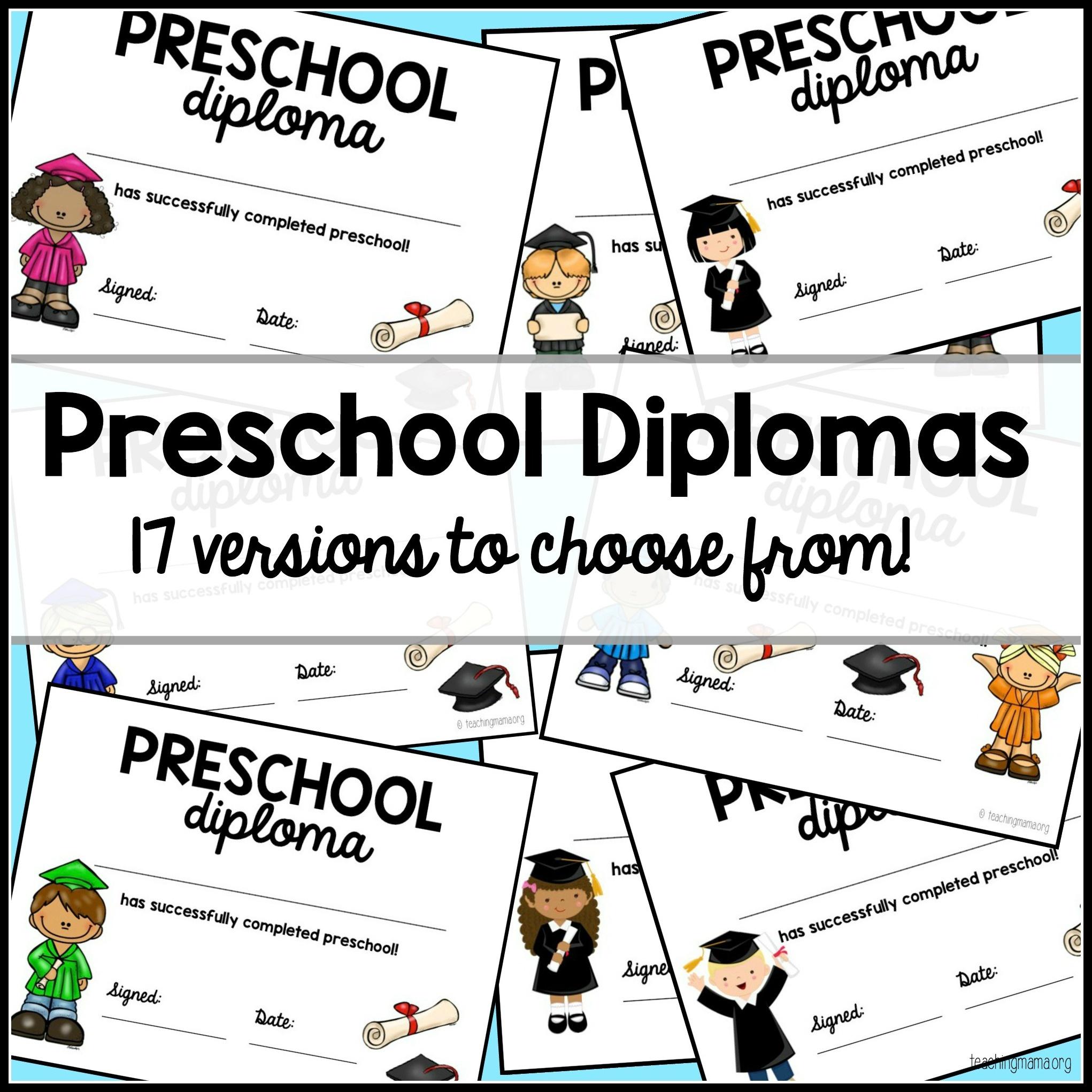 Preschool Graduation Diploma - Free Printable Preschool Diplomas