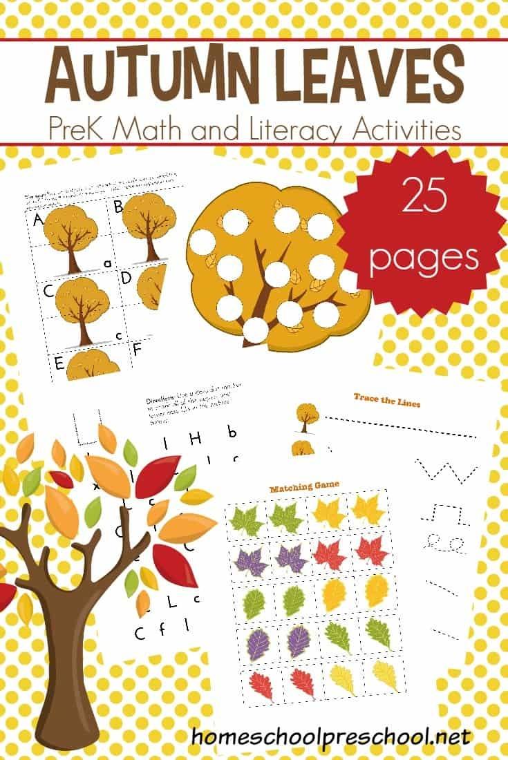 Preschool Leaf Theme Math And Literacy Printables - Free October Preschool Printables