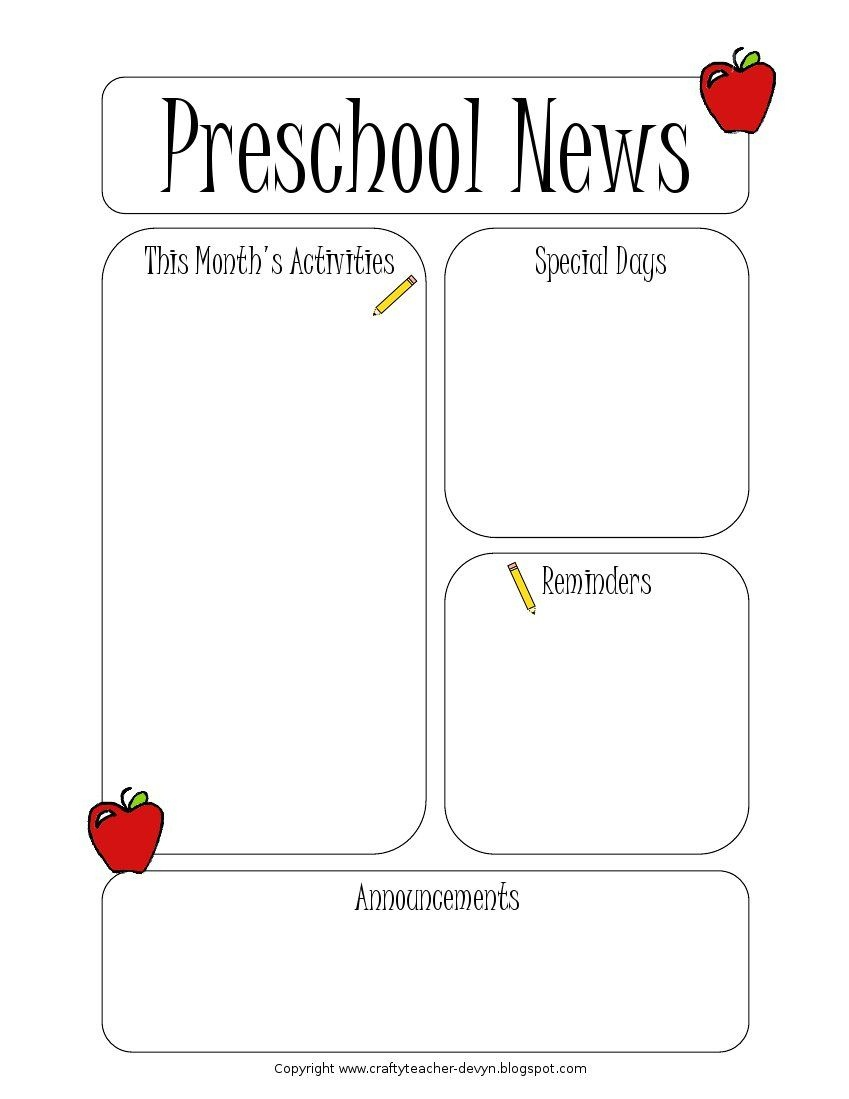 Preschool Newsletter Template | Preschool Newsletter | Preschool - Free Printable Preschool Newsletter Templates