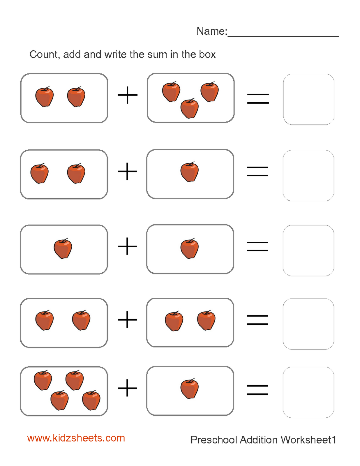 Preschool Printables | Printable Preschool Worksheets,free - Free Printable Preschool Addition Worksheets