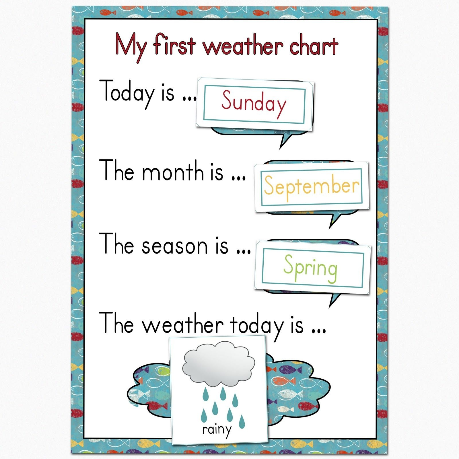 Preschool Weather Chart   Plan To Keep Mine On The Fridge, And Use - Free Printable Weather Chart For Preschool