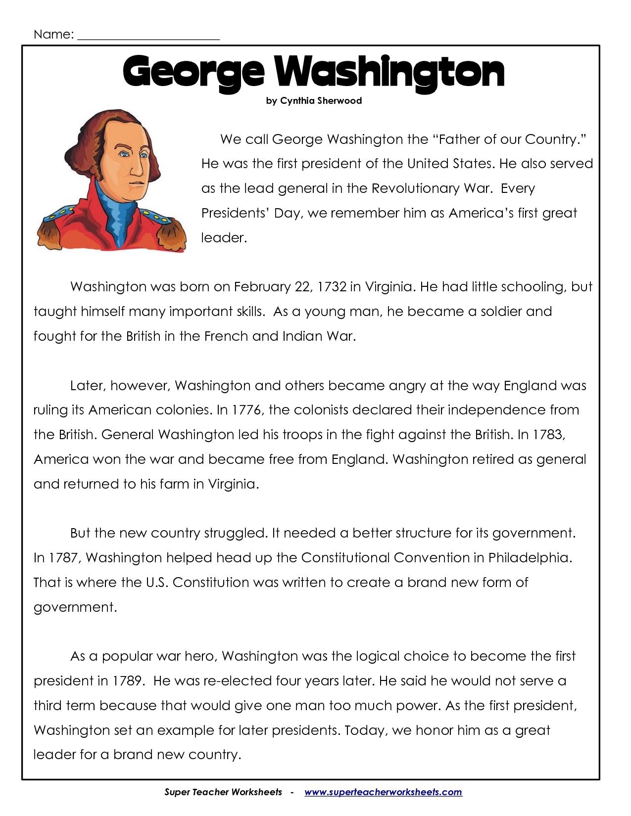 President's Day Coloring Worksheet   George Washington Worksheets - Free Printable George Washington Worksheets