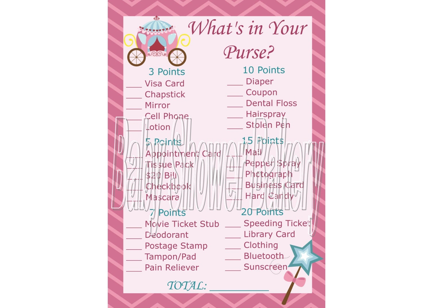Princess Baby Shower Game Princess Theme Baby Shower | Etsy - Free Printable Baby Shower Games What's In Your Purse