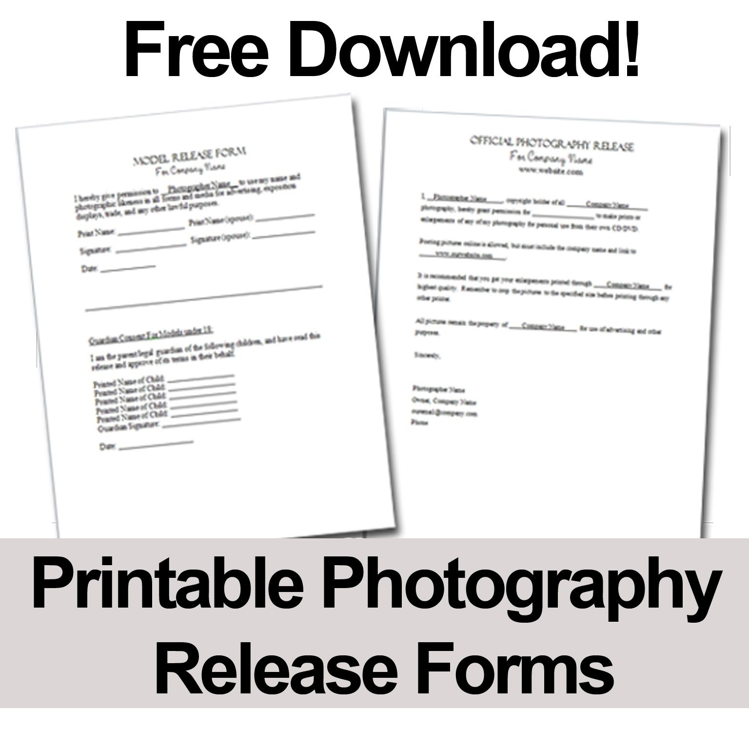 Print These Free Photography Release Forms To Give Your Clients - Free Printable Print Release Form