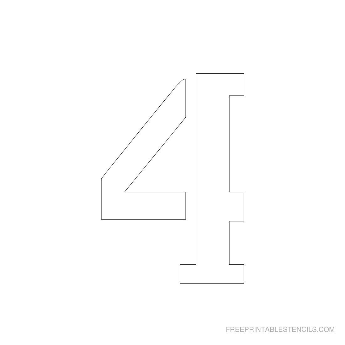 Printable 3 Inch Number Stencil 4 | Stencles | Number Stencils - Free Printable 4 Inch Number Stencils