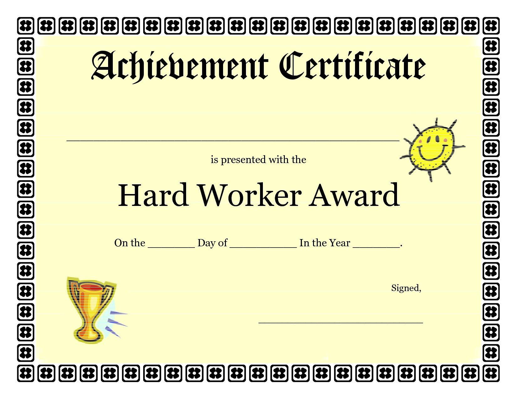 Printable Achievement Certificates Kids | Hard Worker Achievement - Free Printable Blank Certificates Of Achievement