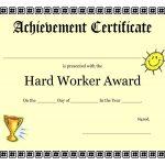 Printable Achievement Certificates Kids | Hard Worker Achievement   Free Printable Student Award Certificate Template