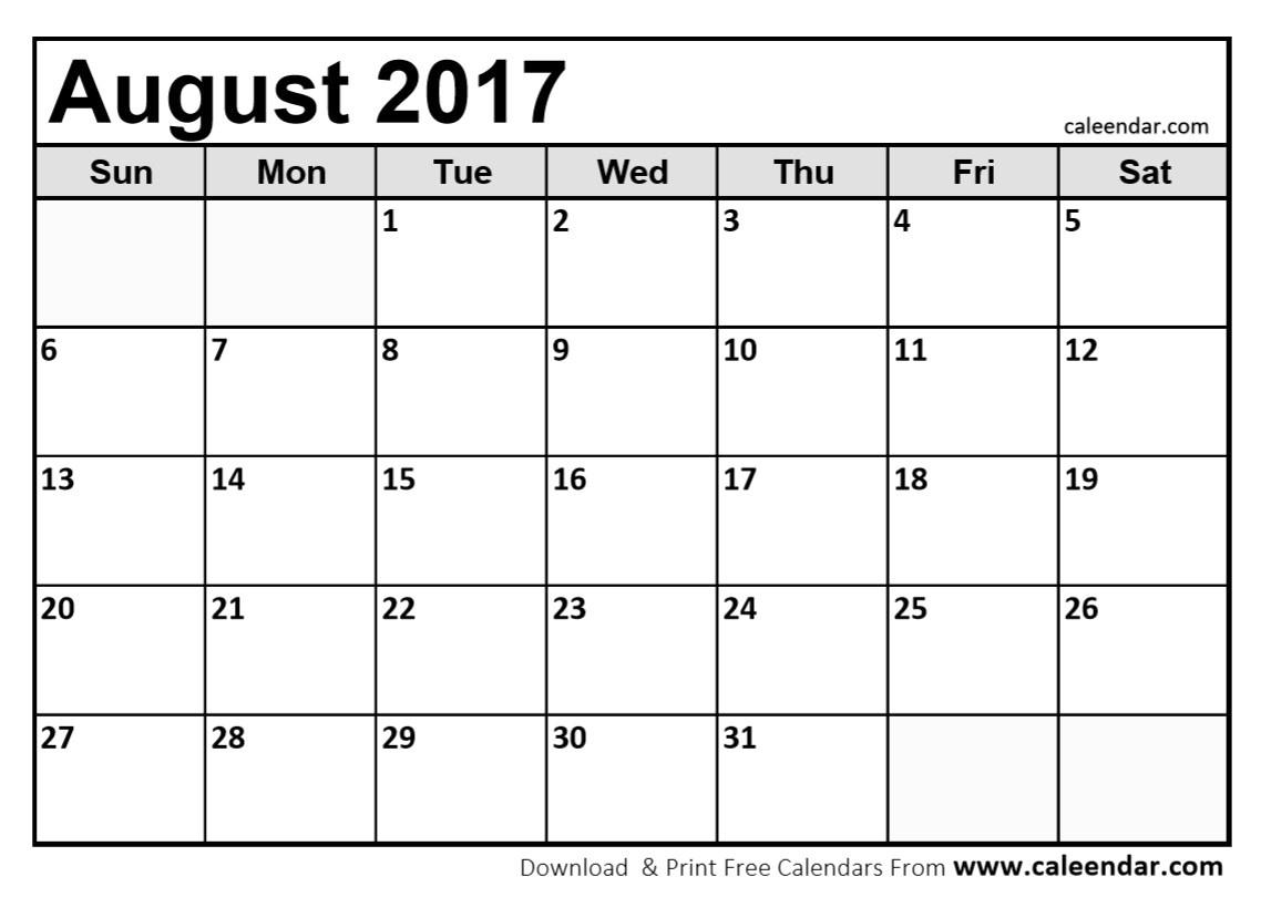 Printable August 2017 Calendar | Jcreview - Free Printable August 2017