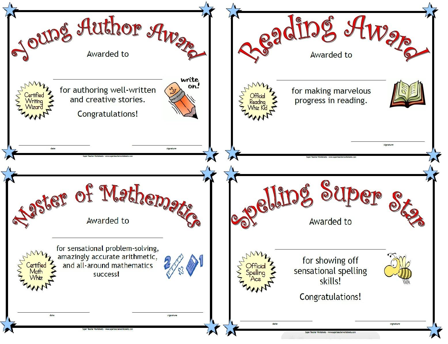 Printable Awards - Free Printable School Achievement Certificates