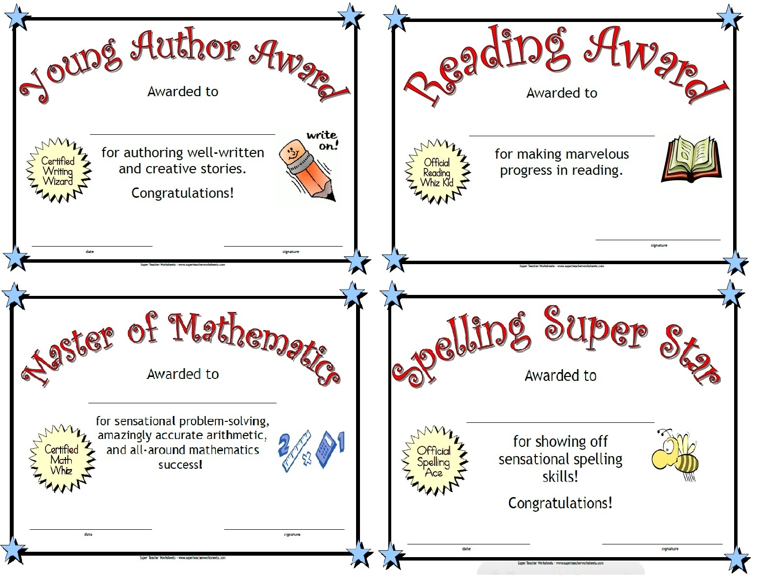 Printable Awards - Free Printable Student Award Certificate Template