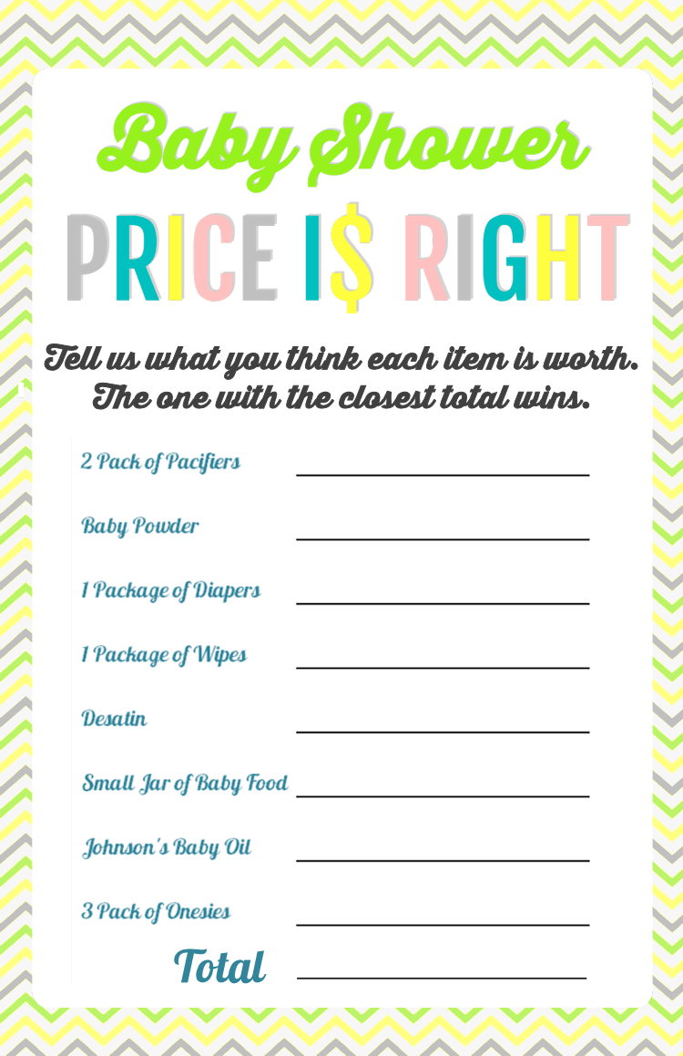 Printable Baby Shower Games | Baby Shower | Baby Shower Printables - Free Printable Price Is Right Baby Shower Game