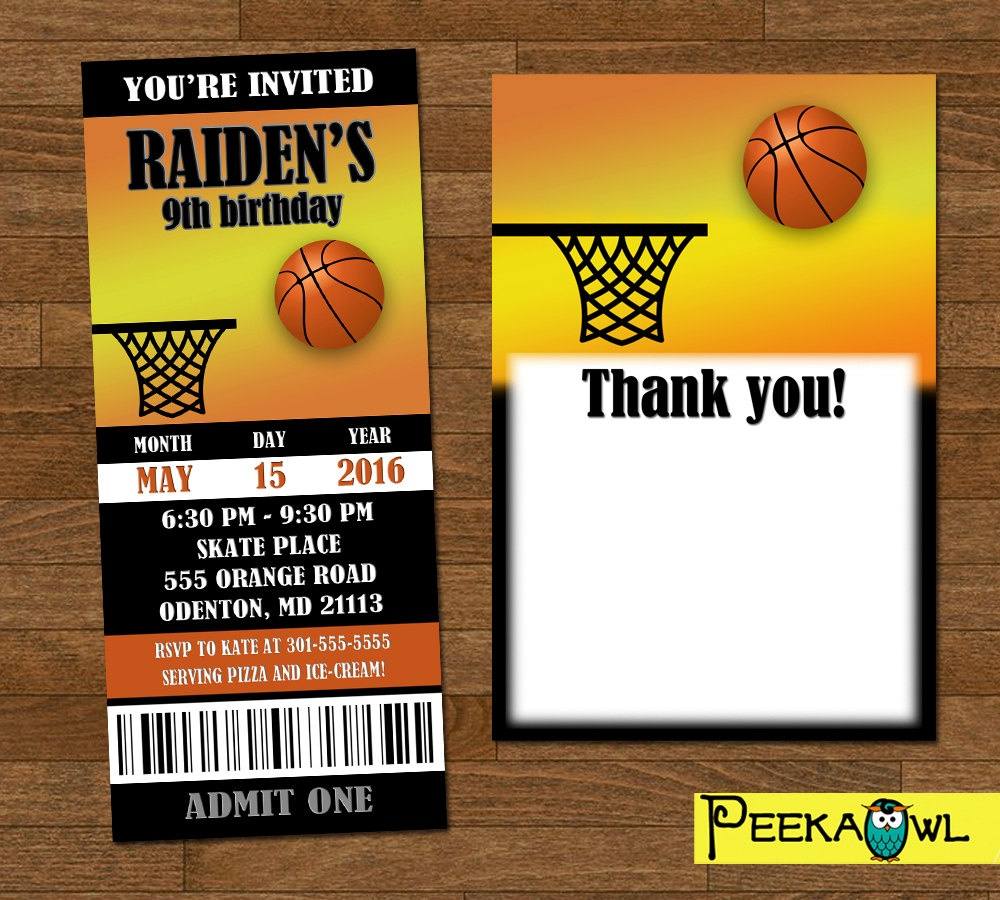 Printable Basketball Invitation Ticket Customize Basketball | Etsy - Basketball Invites Free Printable