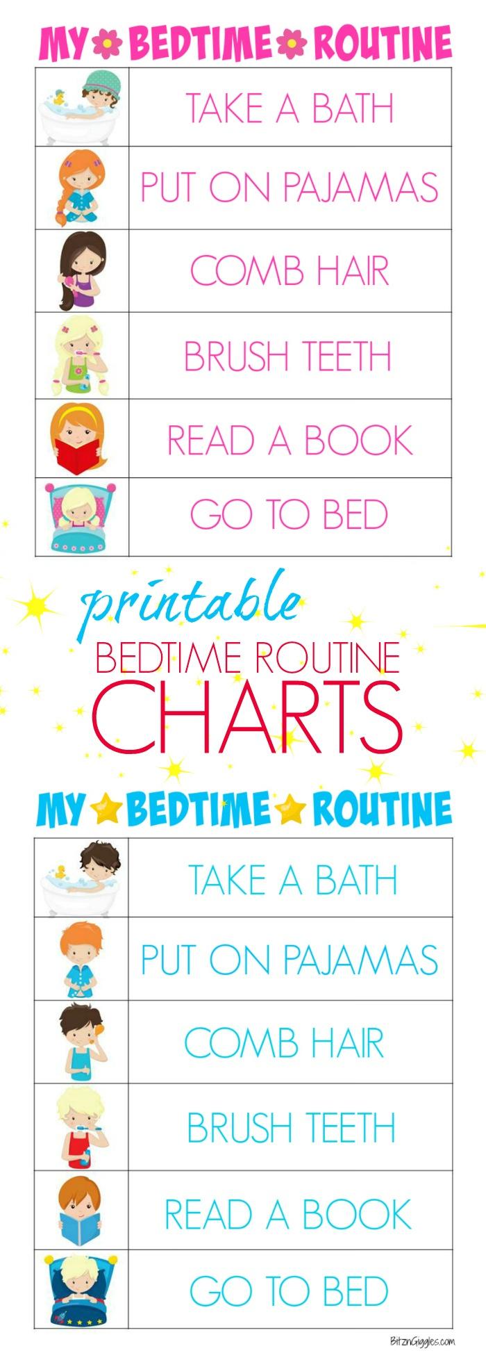 Printable Bedtime Routine Charts - Bitz & Giggles - Free Printable Morning Routine Charts With Pictures
