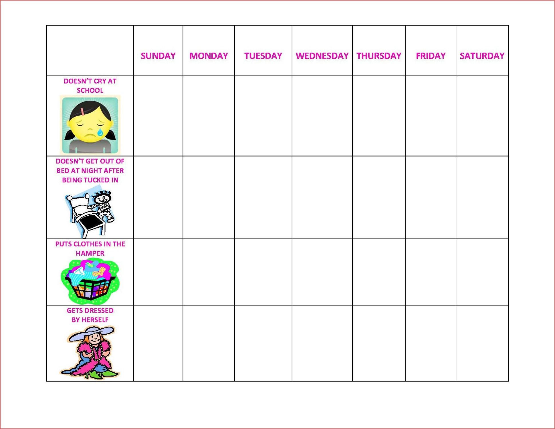 Printable Behavior Calendar Daily Printable Behavior Charts For Home - Free Printable Behaviour Charts For Home