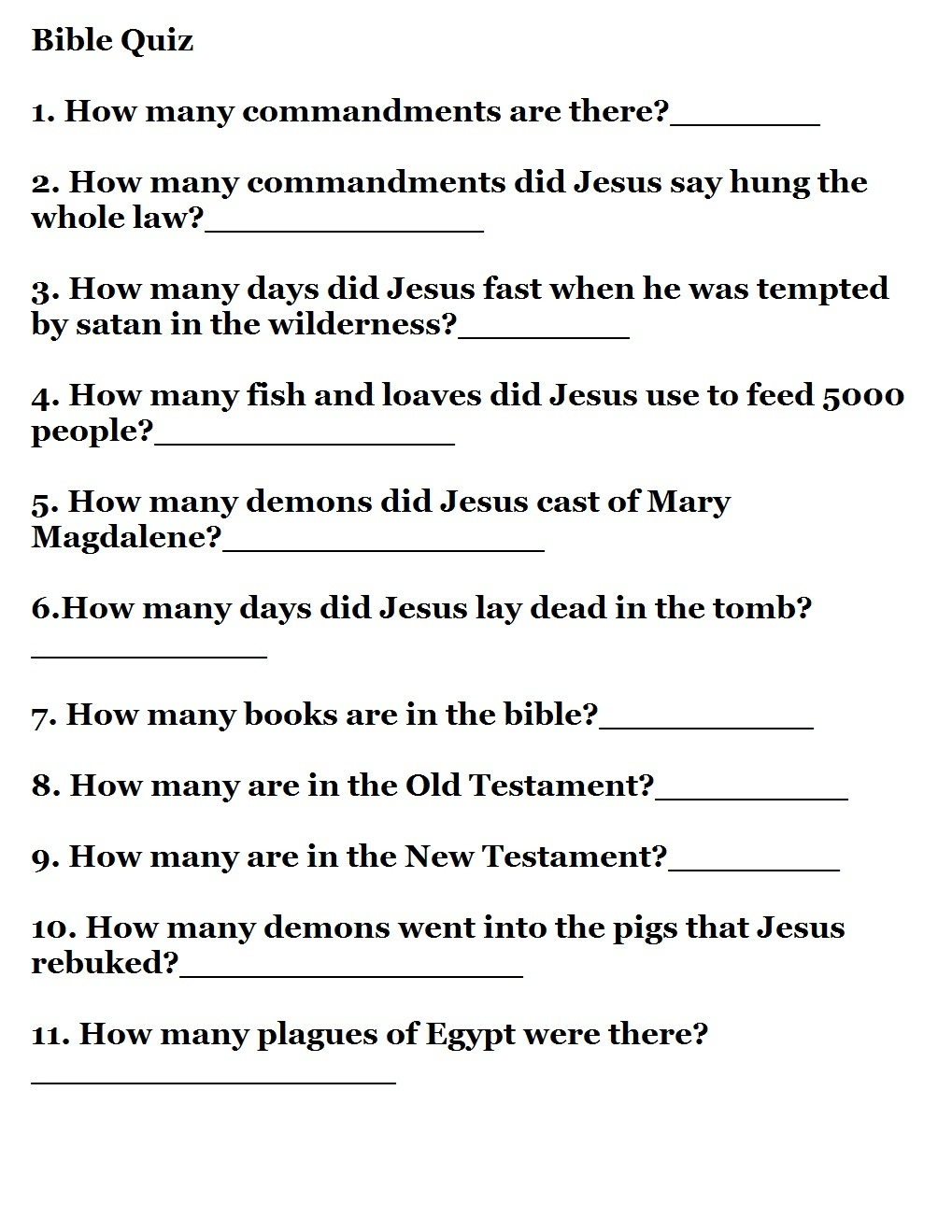 Printable Bible Quizzes - Free Printable Bible Trivia For Adults