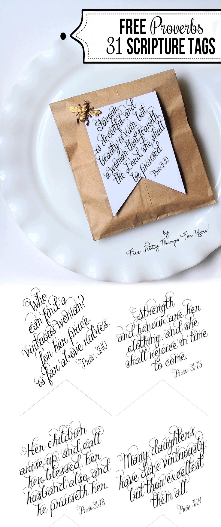 Printable Bible Verses: Proverbs 31 Tags - Free Pretty Things For You - Free Printable Bible Verse Labels