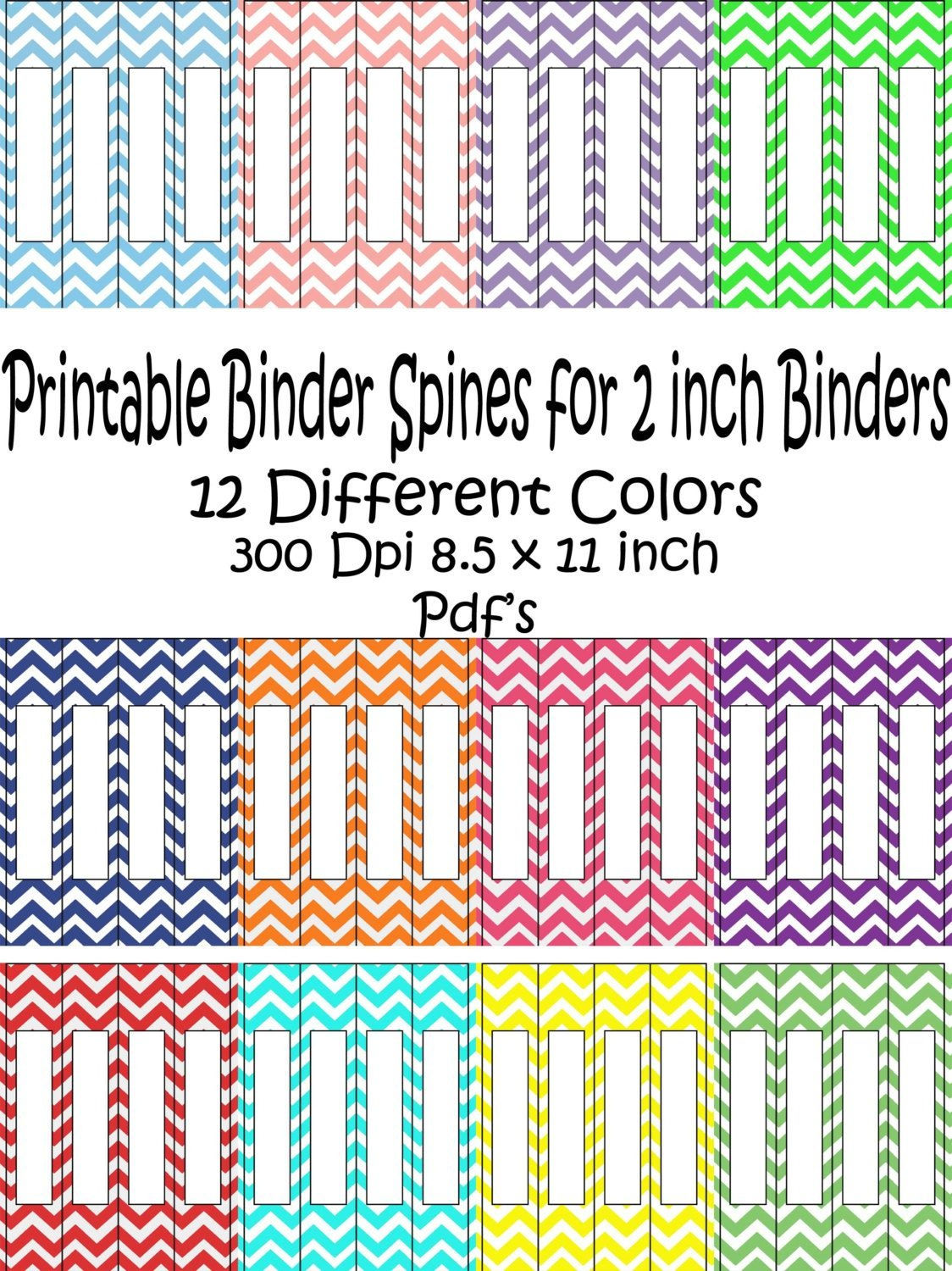 Printable Binder Spine Pack Size 2 Inch-12 Different Colors In - Free Editable Printable Binder Covers And Spines