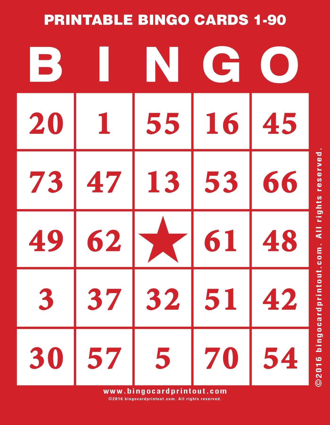 Printable Bingo Cards 1-90 - Bingocardprintout - Free Printable Bingo Cards 1 75