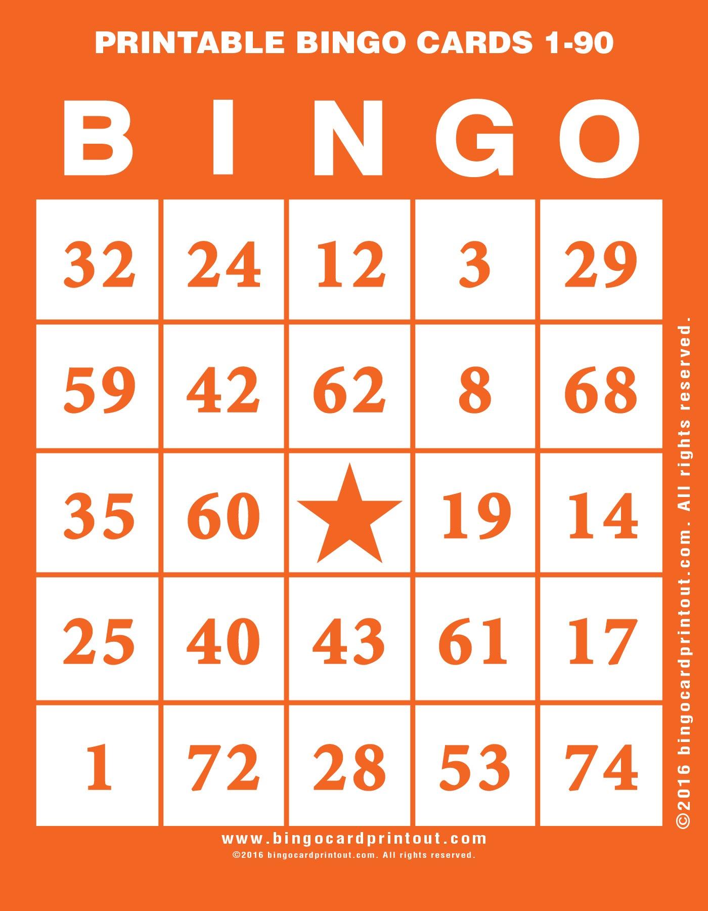 Printable Bingo Cards 1-90 - Bingocardprintout - Free Printable Bingo Cards
