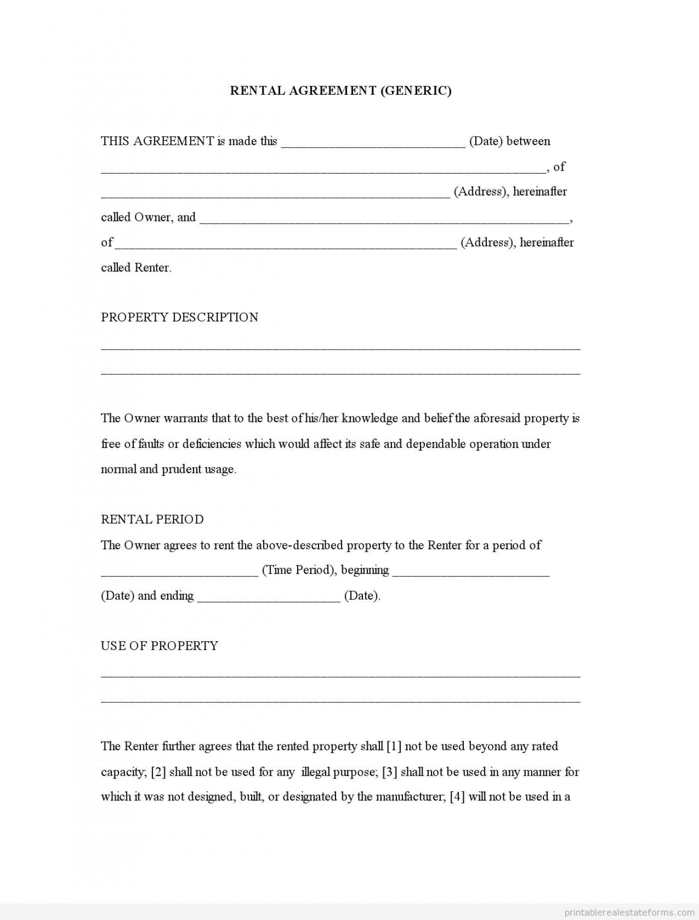 Printable Blank Rental Lease Agreement - Mandanlibrary - Free Printable Lease Agreement Texas