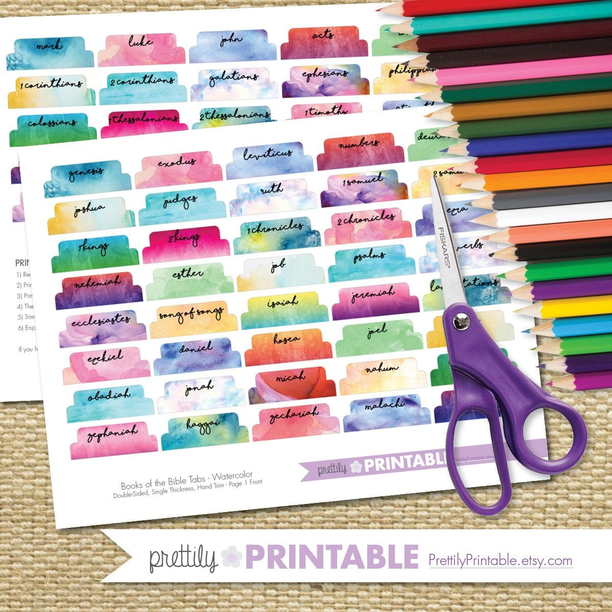 Printable Books Of The Bible Tabs - Watercolor (For Hand Trimming - Bible Tabs Printable Free