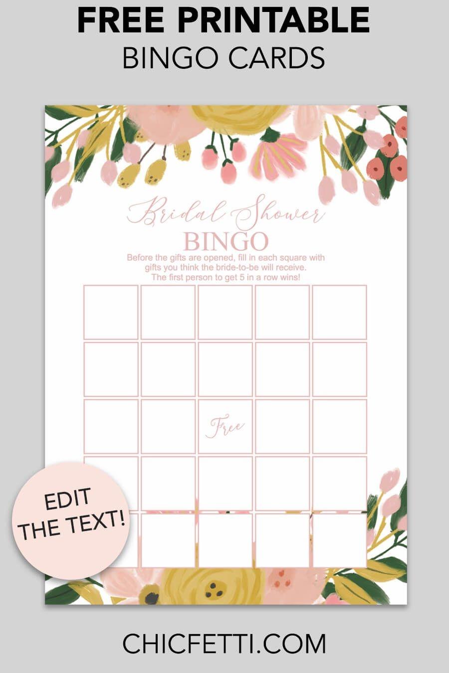 Printable Bridal Shower Bingo (Whimsical Botanical) | Free Party - Free Printable Bridal Shower Cards