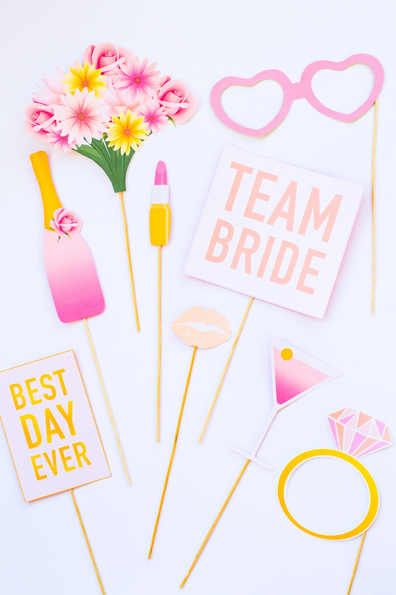 Printable Bridal Shower Photo Booth Props & Hen Party Bachelorette - Free Printable Photo Booth Props Bridal Shower