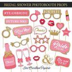 Printable Bridal Shower Photobooth Props Wedding Photo Booth | Etsy   Free Printable Photo Booth Props Bridal Shower