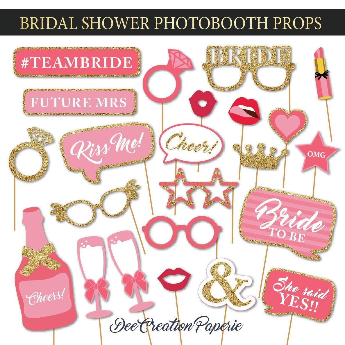 Printable Bridal Shower Photobooth Props Wedding Photo Booth | Etsy - Free Printable Photo Booth Props Bridal Shower