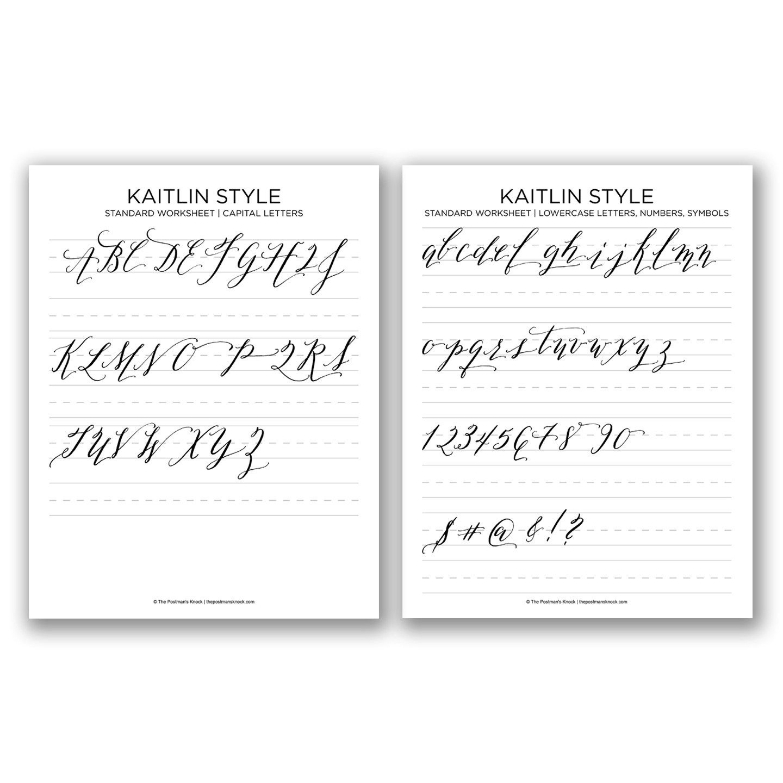 Printable Calligraphy Exemplar - Kaitlin Style | Calligraphy - Free Calligraphy Printables