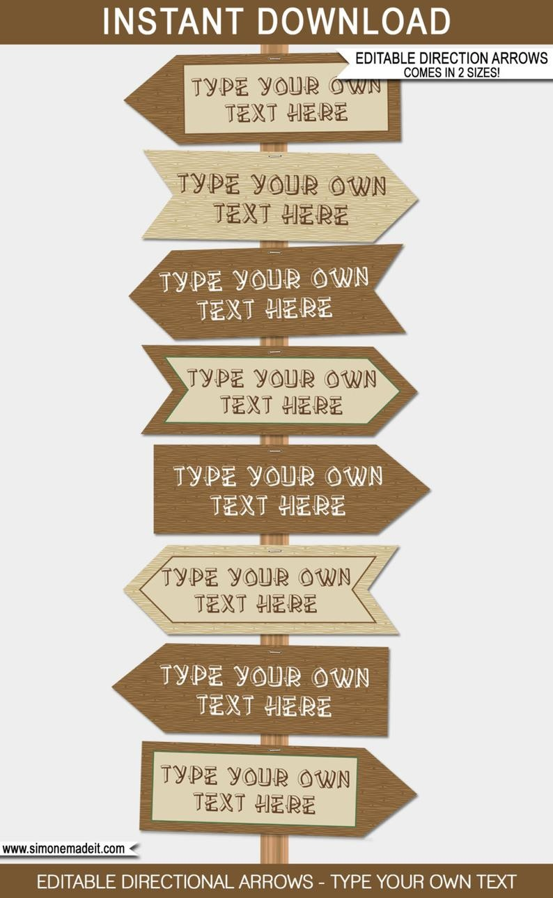 Printable Camping Signs Direction Arrows Instant Download   Etsy - Free Printable Camping Signs