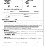 Printable Car Bill Of Sale Pdf | Bill Of Sale For Motor Vehicle   Free Printable Bill Of Sale For Car